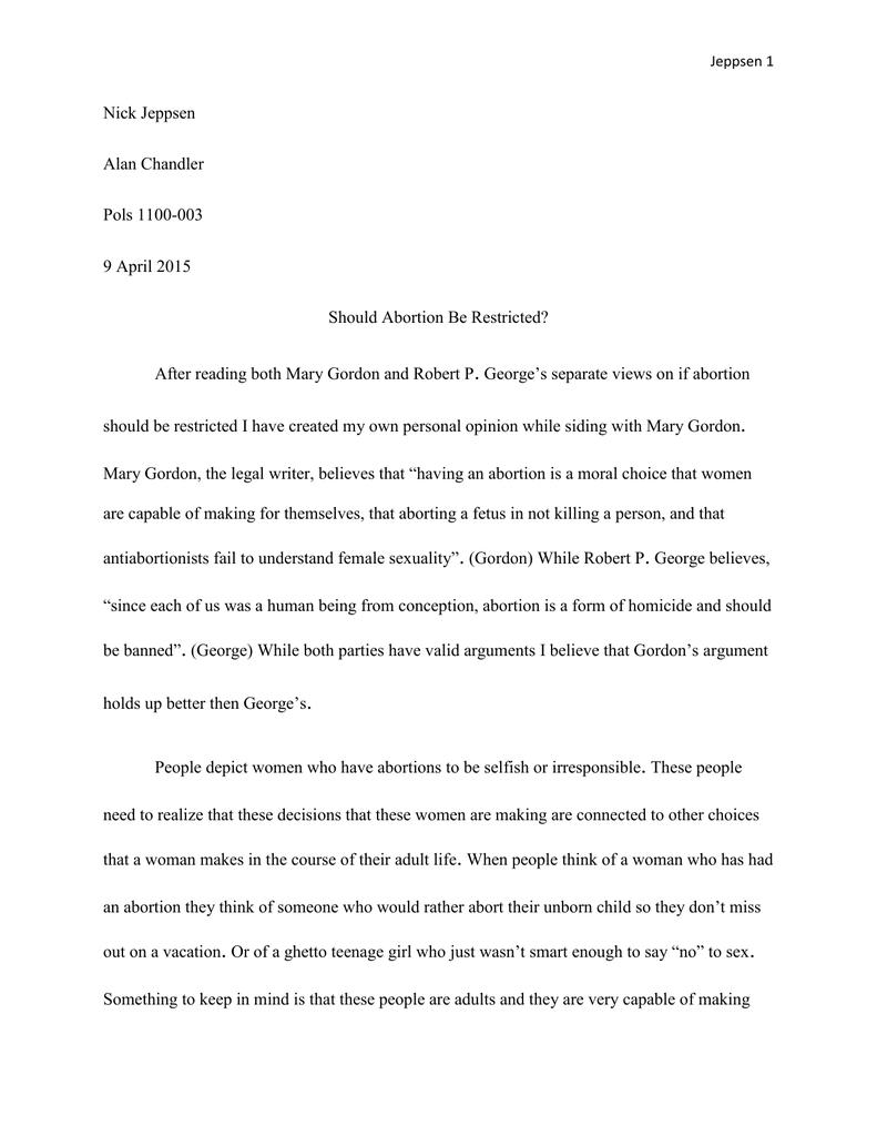 abortion con essay