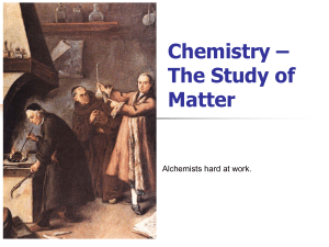 Chemistry * The Study of Matter - SchoolWorld an Edline Solution