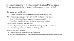 American Prosperity in the Roaring 20*s & Stock Market Basics