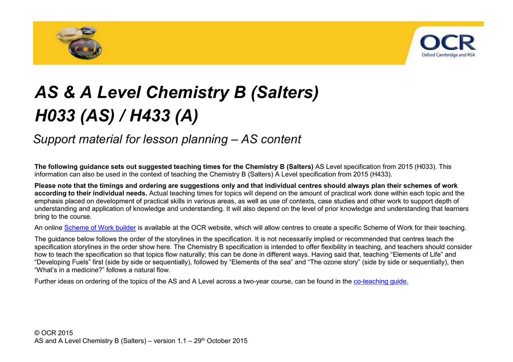 ocr chemistry coursework 2015 enthalpy