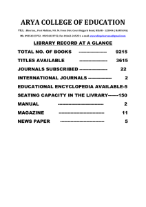 library record at a glance - Arya College of Education