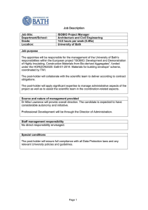 Job Description & Person Specification