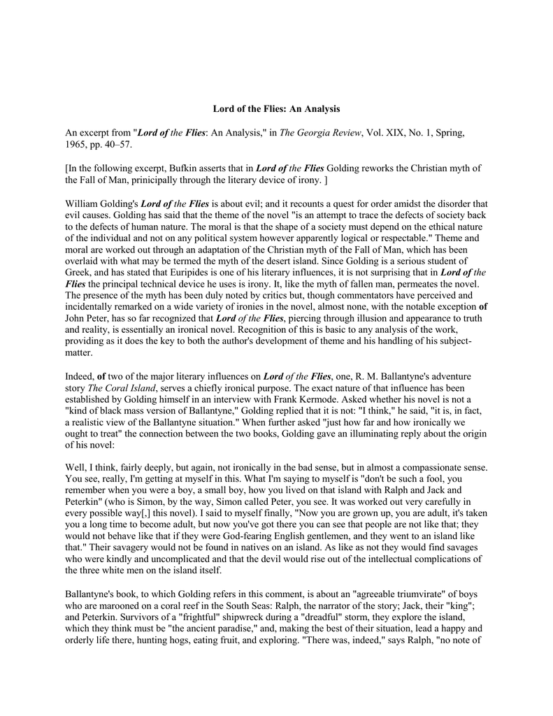 lord of the flies an analysis an excerpt from lord of the flies an