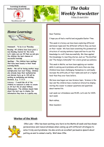 Weekly Newsletter dated 25th April 2014