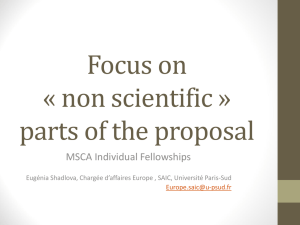 Focus on « not scientific » parts of the proposal