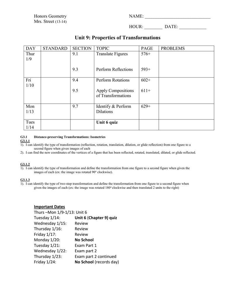 honors geometry homework 9.4