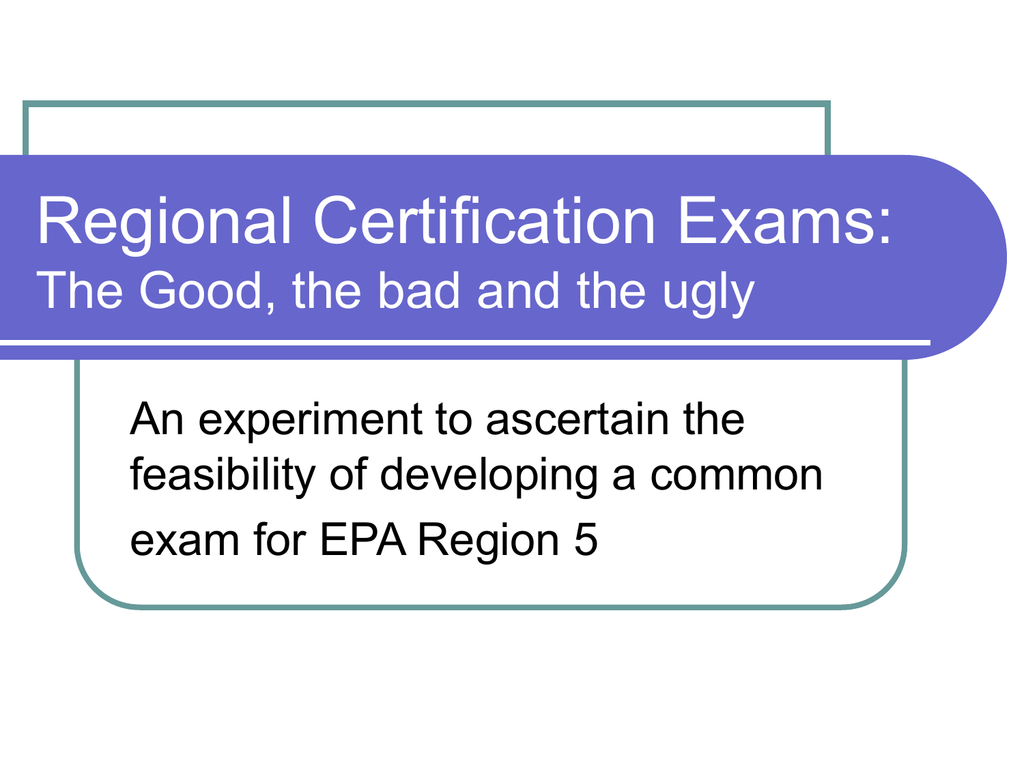 Epa Region 5 Certification Exam Study