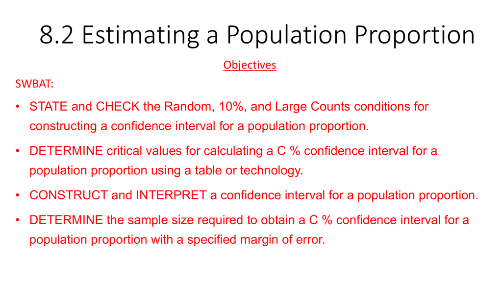 8 2 Estimating A Population Proportion