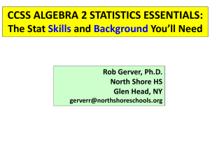 CCSS ALGEBRA 2 STATISTICS ESSENTIALS Descriptive