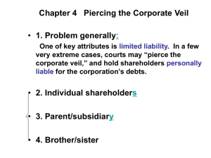 Chapter 4 Piercing the Corporate Veil 1. Problem generally