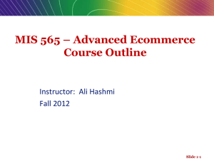 MIS 565 – Advanced Ecommerce Course Outline