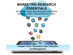 Chapter Three: Secondary Data Collection and Management