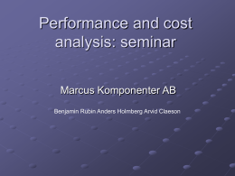 Performance and cost analysis: seminar
