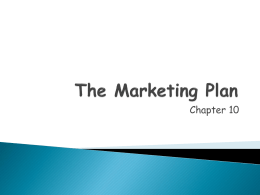 CH 10 PPT The Marketing Plan