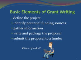 Basic Elements of Grant Writing