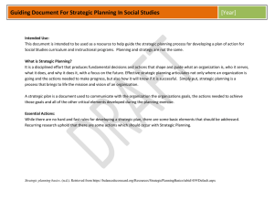Guiding Document For Strategic Planning In Social Studies