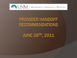 UNMH EHandoff Recommendations June 28th, 2011