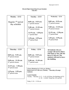 Hirschi High School Final Exam Schedule