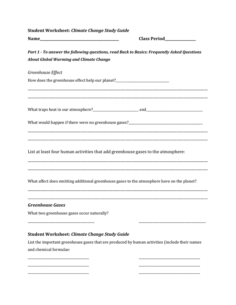 Student Worksheet Climate Change Study Guide