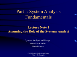 Chapter 1 Assuming The Role Of The Systems