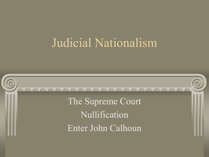 Judicial Nationalism, John C. Calhoun and the Tariff