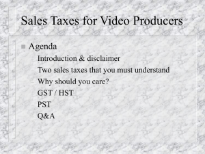 Sales Taxes for Video Producers - BC Professional Videographers
