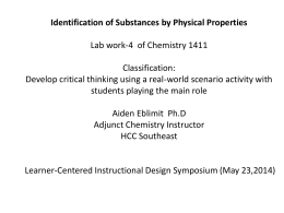 Identification of Substances by Physical Properties