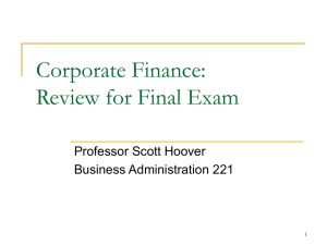 Corporate Finance MGMT 221