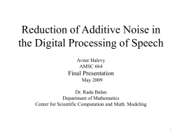Reduction of Additive Noise in the Digital Processing of Speech