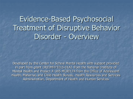 Evidence-Based Psychosocial Treatment of ADHD