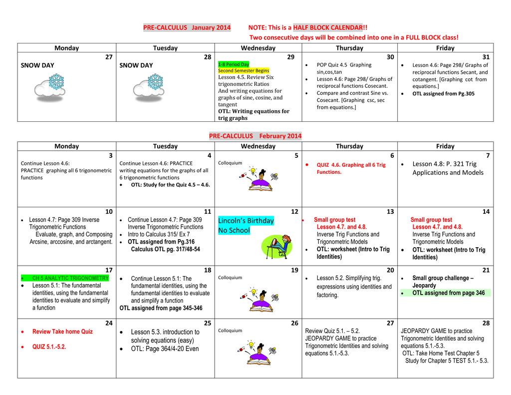 Pre-Calculus Half Block Calendar SEM 2 2013-14
