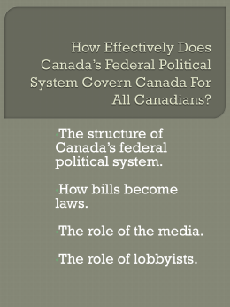 How Effectively Does Canada*s Federal Political System Govern