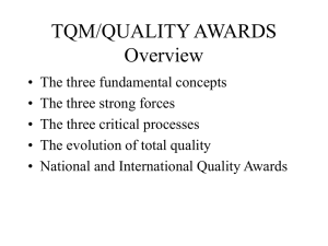 TQM/QUALITY AWARDS Overview