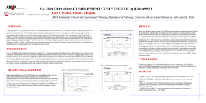 SUMMARY VALIDATION of the COMPLEMENT COMPONENT C1q