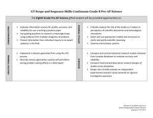 GT Scope and Sequence Skills Continuum Grade 8 Pre