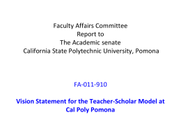 Vision Statement for the Teacher-Scholar Model at Cal Poly Pomona
