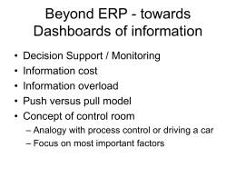 Beyond ERP - towards Dashboards of information