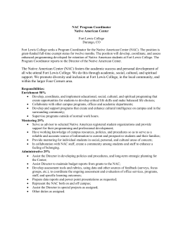 NAC Program Coordinator Native American Center Fort Lewis