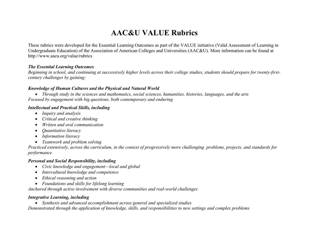 aac&u value rubrics problem solving