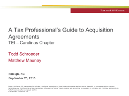Raleigh TEI (Sept 2015) - A Tax Professionals Guide to Acquisition