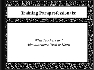 Paraprofessional Training Modules (ppt download)
