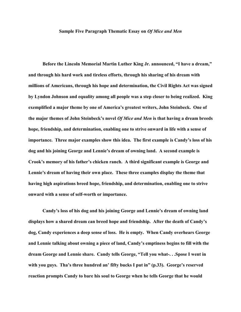 martin luther king 5 paragraph essay
