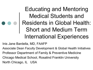 Mentoring and Educating Students and Residents in Global Health