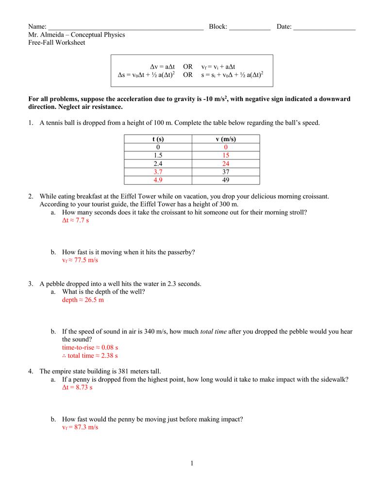 conceptual physics worksheet 06 - free fall (solns)