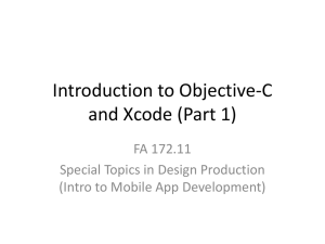 Introduction to Objective C and Xcode