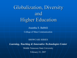 Globalization, Diversity and Higher Education