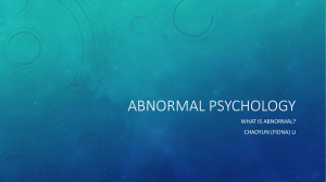 Abnormal psychology - Fiona Li's Portfolio