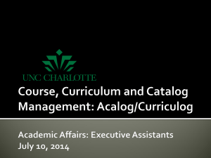 Course, Curriculum, and Catalog Management Presentation