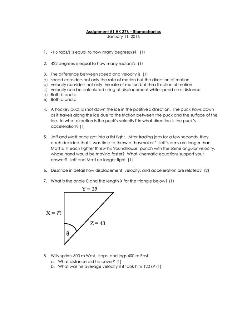 Assignment #1 HK 376 * Biomechanics