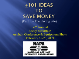 Newcomb_-_101_Ideas - Rocky Mountain Asphalt Conference